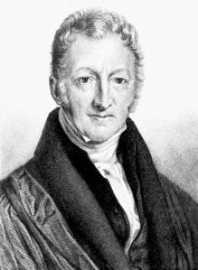 Thomas Malthus, looking stern and forbidding. He's probably thinking about the human population's imminent demise.