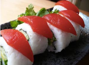 Tomato sushi, mimicked to look like Ahi tuna.