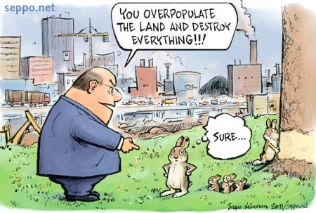 Man and city rabbit and environmental destruction